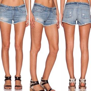 Rag & Bone The Cut Off Distressed Denim Shorts 24